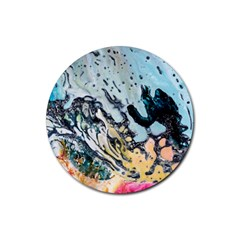 Abstract Structure Background Wax Rubber Round Coaster (4 Pack)