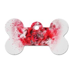 Flower Roses Heart Art Abstract Dog Tag Bone (two Sides)