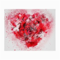 Flower Roses Heart Art Abstract Small Glasses Cloth (2 Side)