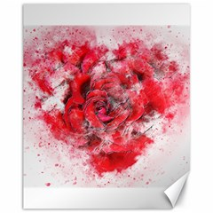 Flower Roses Heart Art Abstract Canvas 11  X 14