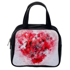 Flower Roses Heart Art Abstract Classic Handbags (one Side)