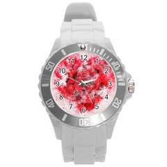 Flower Roses Heart Art Abstract Round Plastic Sport Watch (l)
