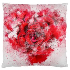 Flower Roses Heart Art Abstract Large Flano Cushion Case (one Side)
