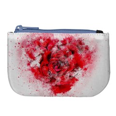 Flower Roses Heart Art Abstract Large Coin Purse