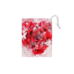 Flower Roses Heart Art Abstract Drawstring Pouches (xs)