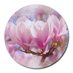 Flowers Magnolia Art Abstract Round Mousepads