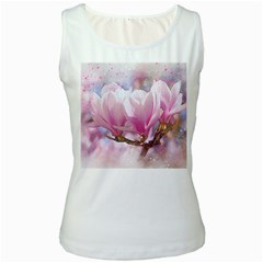 Flowers Magnolia Art Abstract Women s White Tank Top