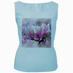 Flowers Magnolia Art Abstract Women s Baby Blue Tank Top