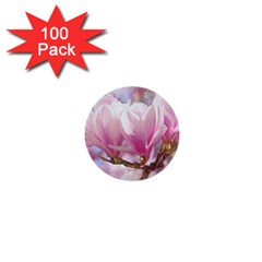 Flowers Magnolia Art Abstract 1  Mini Buttons (100 Pack)