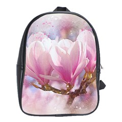 Flowers Magnolia Art Abstract School Bag (xl)