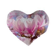 Flowers Magnolia Art Abstract Standard 16  Premium Flano Heart Shape Cushions