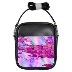 Background Crack Art Abstract Girls Sling Bags