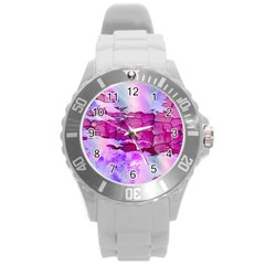 Background Crack Art Abstract Round Plastic Sport Watch (l)