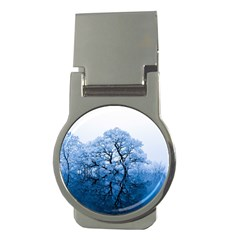 Nature Inspiration Trees Blue Money Clips (round)