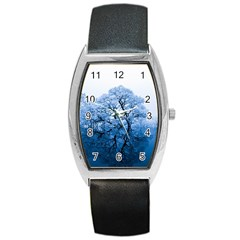 Nature Inspiration Trees Blue Barrel Style Metal Watch