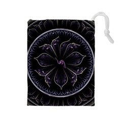Fractal Abstract Purple Majesty Drawstring Pouches (large)