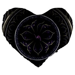 Fractal Abstract Purple Majesty Large 19  Premium Flano Heart Shape Cushions