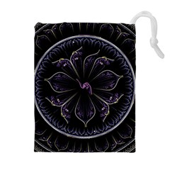 Fractal Abstract Purple Majesty Drawstring Pouches (extra Large)
