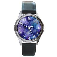 Ink Background Swirl Blue Purple Round Metal Watch