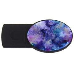 Ink Background Swirl Blue Purple Usb Flash Drive Oval (2 Gb)