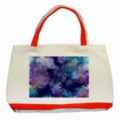 Ink Background Swirl Blue Purple Classic Tote Bag (red)