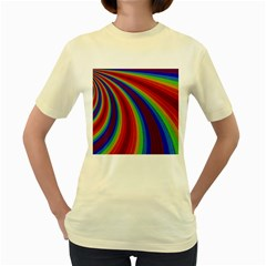 Abstract Pattern Lines Wave Women s Yellow T Shirt