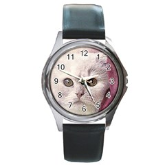 Cat Pet Cute Art Abstract Vintage Round Metal Watch