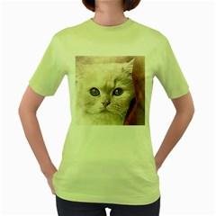 Cat Pet Cute Art Abstract Vintage Women s Green T Shirt