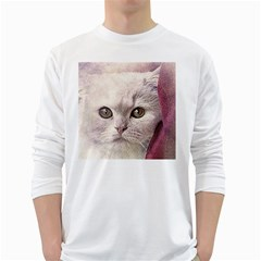 Cat Pet Cute Art Abstract Vintage White Long Sleeve T Shirts