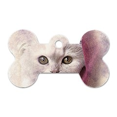 Cat Pet Cute Art Abstract Vintage Dog Tag Bone (two Sides)