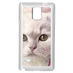 Cat Pet Cute Art Abstract Vintage Samsung Galaxy Note 4 Case (white)