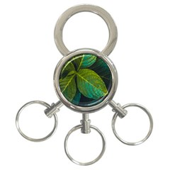 Green Plant Leaf Foliage Nature 3 Ring Key Chains