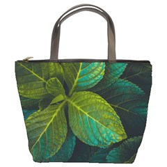 Green Plant Leaf Foliage Nature Bucket Bags