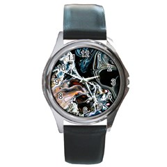Abstract Flow River Black Round Metal Watch