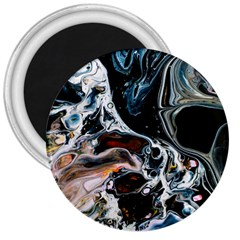Abstract Flow River Black 3  Magnets