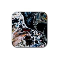 Abstract Flow River Black Rubber Coaster (square)