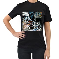 Abstract Flow River Black Women s T Shirt (black) (two Sided)
