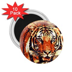 Tiger Portrait Art Abstract 2 25  Magnets (10 Pack)