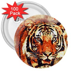 Tiger Portrait Art Abstract 3  Buttons (100 Pack)