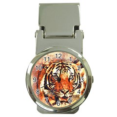 Tiger Portrait Art Abstract Money Clip Watches