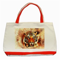 Tiger Portrait Art Abstract Classic Tote Bag (red)