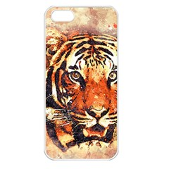Tiger Portrait Art Abstract Apple Iphone 5 Seamless Case (white)
