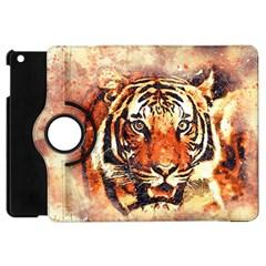 Tiger Portrait Art Abstract Apple Ipad Mini Flip 360 Case
