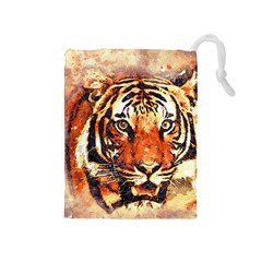 Tiger Portrait Art Abstract Drawstring Pouches (medium)