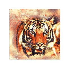 Tiger Portrait Art Abstract Small Satin Scarf (square)