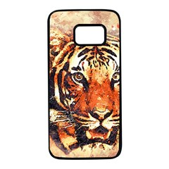 Tiger Portrait Art Abstract Samsung Galaxy S7 Black Seamless Case
