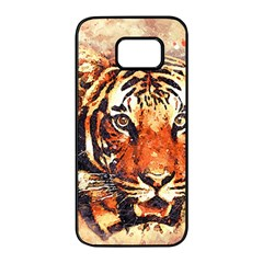 Tiger Portrait Art Abstract Samsung Galaxy S7 Edge Black Seamless Case