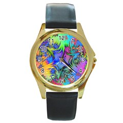Star Abstract Colorful Fireworks Round Gold Metal Watch