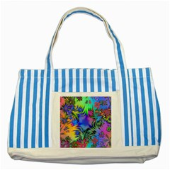 Star Abstract Colorful Fireworks Striped Blue Tote Bag