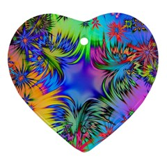 Star Abstract Colorful Fireworks Heart Ornament (two Sides)
